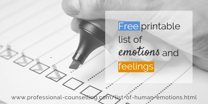 Free printable list of emotions and feelings